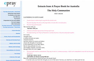 ePray - Using ebooks, APBA and an Australian Prayerbook